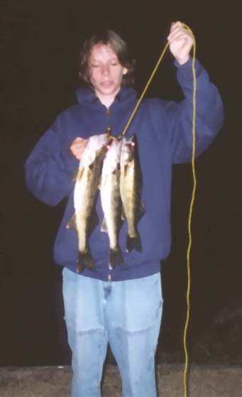Kevy's catch of walleye on Little Bay de Noc